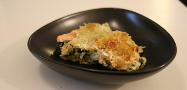 Gratin de ravioles aux épinards et à la truite